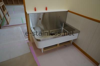 保育園用特注手洗いシンク、幼児用手洗いシンク特注ステンレス